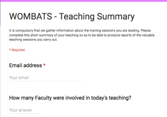 WOMBATS Teaching Summary